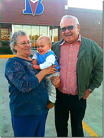 Landon with Grannie and Papa