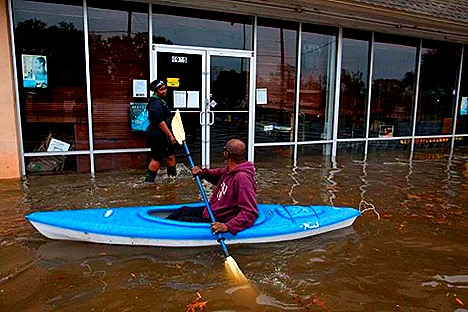January 2012 storms cause flash flooding in Houston, Texas.