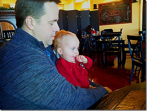 Landon and Daddy at Texas Tea Room