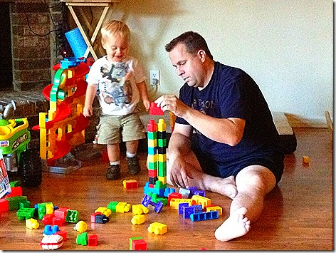 Landon and Daddy with Blocks