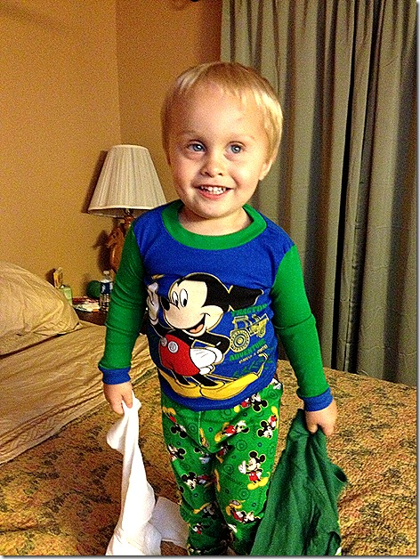 Landon in Mickey Mouse Jammies