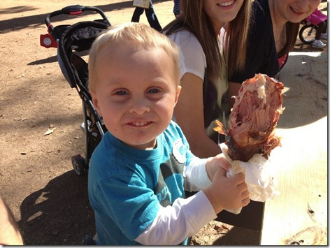 Landon's 1st Turkey Leg