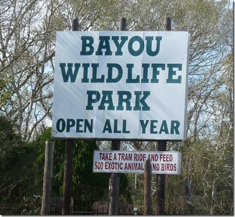 Bayou Wildlife Park Sign